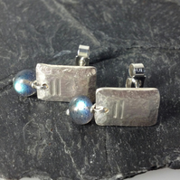 small silver and labradorite Notched stud earrings