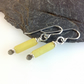Scrolls pale yellow jade and silver earrings