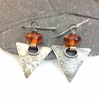 Oxidised silver and amber triangular earrings