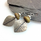 Large silver and serpentine leaf spear earrings