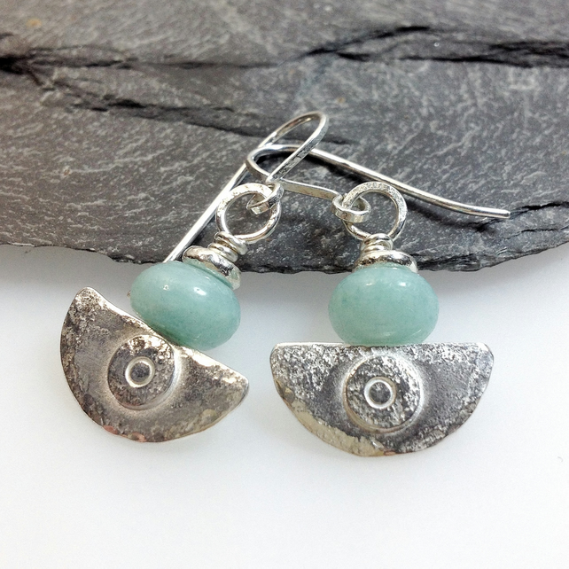 silver and amazonite earrings Ulu tribal blade