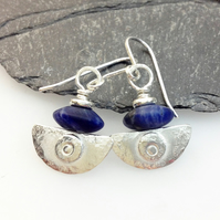 silver and blue sodalite earrings Ulu tribal blade
