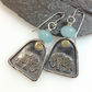 Silver and 18ct gold elephant earrings with aquamarine.