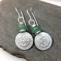 Silver and green aventurine Dotty Earrings