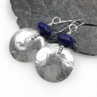 Large round silver and lapis lazuli earrings