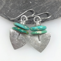 Frosted silver and turquoise Shovel earrings