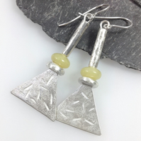 Long silver and butter jade tribal earrings