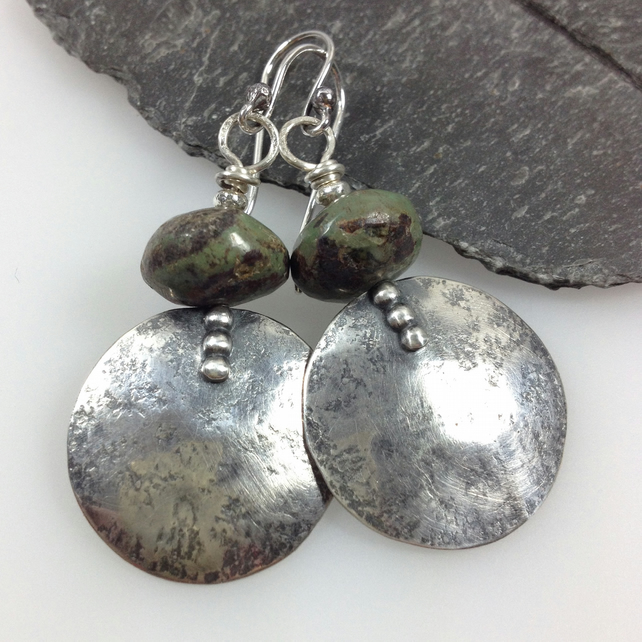 Large round oxidised  silver and earthy turquoise earrings