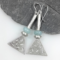 Long silver and aquamarine tribal earrings