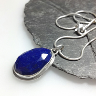Lapis lazuli and silver pendant and chain with star detail