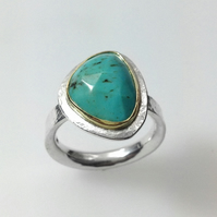 Turquoise silver and gold Polki ring U.K. M.5