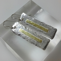 Silver and 18ct gold rectangular earrings