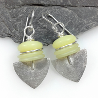 Frosted silver and jasper Shovel earrings