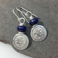 Silver and lapis lazuli Dotty Earrings