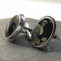Silver cufflinks with apache tears gemstones