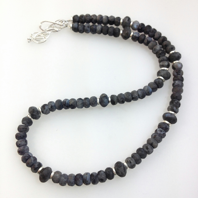 Frosted Black labradorite and silver bead necklace