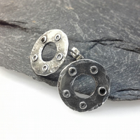 Oxidised silver and spinel stud earrings industrial