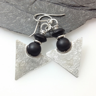 Silver and black agate tribal earrings
