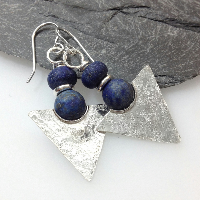 Silver and lapis lazuli tribal earrings