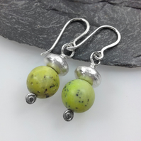 green chrysoprase and sterling silver earrings
