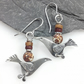 silver song bird earrings with  jasper.