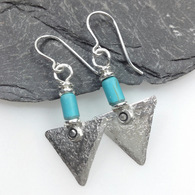 Sterling silver and turquoise triangle earrings