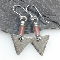 Sterling silver and cherry quartz triangle earrings