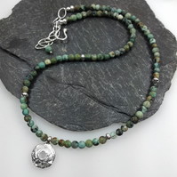 Silver and African turquoise Rai necklace