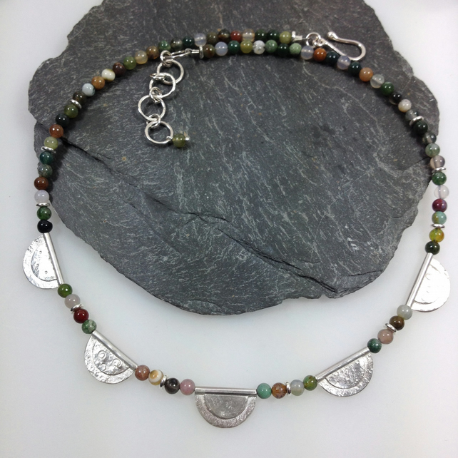 Silver and Indian agate necklace