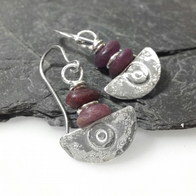handmade silver and raw ruby earrings