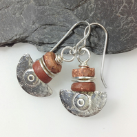 Silver and bauxite Ulu blade earrings
