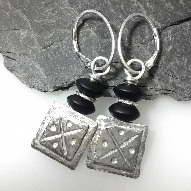Silver and black jasper square tribal earrings