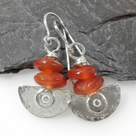 Silver and carnelian Ulu blade earrings