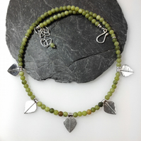 Silver and green opal leaf spear necklace