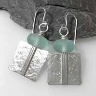 Silver and aqua sea glass Core earrings