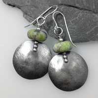 Large round oxidised  silver and earthy chrysoprase earrings