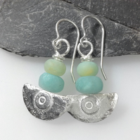 silver and frosted amazonite earrings Ulu tribal blade