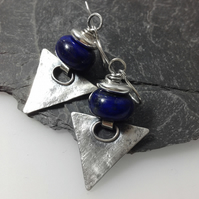Sterling silver and lapis lazuli triangular earrings