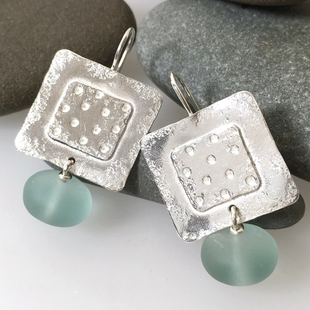 Sterling silver square earrings with frosted aqua glass beads