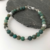 Cupric chrysocolla and silver bracelet
