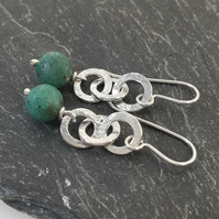 Silver and Teal cupric chrysocolla  earrings