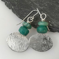 Silver and apatite oval earrings