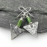 Sterling silver and chrysoprase triangle earrings