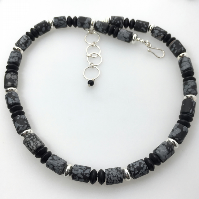 Sterling Silver, snowflake obsidian and black agate chunky necklace