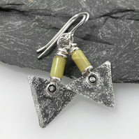 Sterling silver and jade triangle earrings