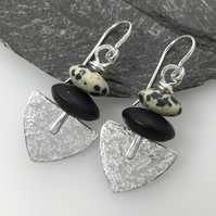 Sterling silver agate and jasper Shovel earrings