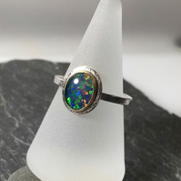 silver 18ct gold and natural black opal triplet ring UK size N and a half