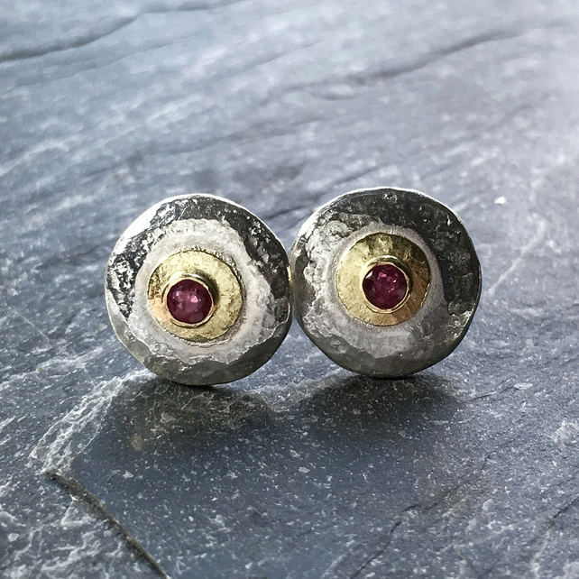 Ruby earrings, silver and gold stud earrings