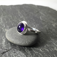Silver and amethyst statement ring U.K. size P