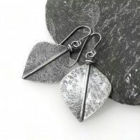 Large oxidised silver leaf spear earrings